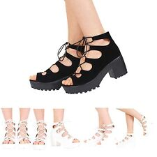NEW WOMENS LADIES CHUNKY CLEATED SOLE PLATFORM LACE UP BLOCK HEEL SHOES SIZE 3-8