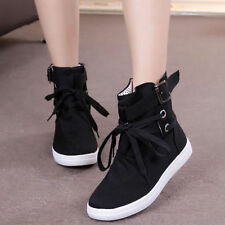 Canvas Womens Buckle Hiking Flats Lace Up High Top Sports Fashion Sneakers Shoes