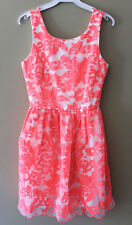 Quality Coral FLORAL Formal Bridal Party Cocktail Embroidery Lined Dress XS