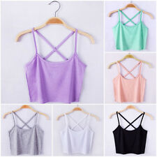 Women's Scoop Neck Cropped Belly Top Sleeveless Fitted Tee Stretchy Blouses Vest