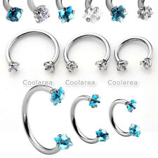 3pcs Steel Mixed CZ Gem Nose Lip Eyebrow Nipple Ear Helix Captive Hoop Ring Stud