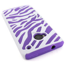 For HTC One M7 Colorful Zebra Hybrid Impact Combo Hard &Soft Silicone Case Cover