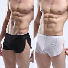 Sexy Mens See-through Mesh Underwear Loose Short Boxers Briefs Male Lingerie