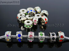 Crystal Rhinestones Tibetan Silver Stopper Clip Lock Beads Fit European Charm