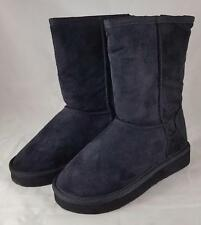 Soda Soong IIS Girls Youth Black Faux Suede Fur lining Mid calf Boots