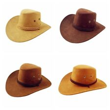 Unisex Women Men Western Cowboy Faux Suede Leather Hat Sunhat Headwear Cap FST