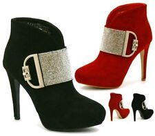 WOMENS BLACK RED SUEDE HIGH HEEL CONCEALED PLATFORM DIAMANTE ANKLE BOOTS