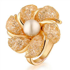 Sale stardust Flower cocktail ring fashion Austrian Crystals Ring women gift R39