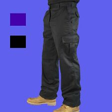 Mens Combat Cargo Work Trousers Black or Navy Size 28 to 52 Short Reg Tall - MIG