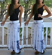 SEXY FOLD OVER WAIST BLACK WHITE BAMBOO TIE DYE LONG MAXI KNIT SKIRT BEACH S M L