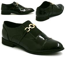 WOMENS FLAT LOAFERS CASUAL BLACK LADIES GOLD TRIM WORK SCHOOL PUMPS SHOES