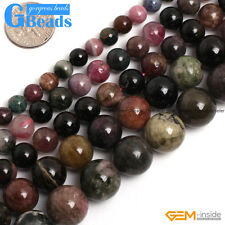 "Natural Colorful Tourmaline Gemstone Round Beads Free Shipping 15"" 6mm 8mm 10mm"