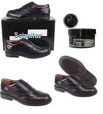 Mens New Black Leather Brogues With Shoe Cream AU Size 6 7 8 9 10 11 12 13 14