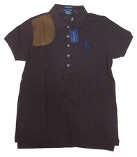 $198 Polo Ralph Lauren Womens Maroon Slim Skinny Big Pony Leather Button Shirt