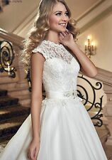 New White/Ivory Lace Bridal Dress Gown Wedding Dresses Size 4 6 8 10 12 14 16+++