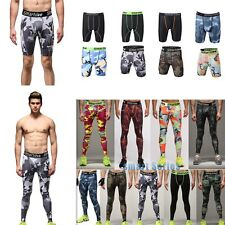 Men Gym Sports Compression Base Layer Under Short Long Pants Athletic Tights