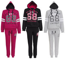 WOMENS LADIES BOTTOMS TOP HOODED NEW YORK NYC 68 CHICAGO LOGO JOGGING TRACKSUIT