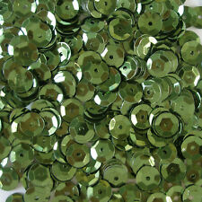 Sequins Olive Green 8mm Round Cup ~400 or ~4,750 pieces Loose High Quality