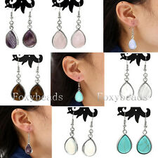 Pair Teardrop Gemstone Quartz Bead Dangle Hook Eardrop Earring Fashion Jewelry