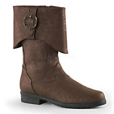 Brown Pirate Medieval Knight Renaissance Faire Mens Costume Boots size 10 11 12