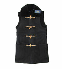 $1,998 Polo Ralph Lauren Womens Black Leather Suede Shearling Fur Vest Jacket