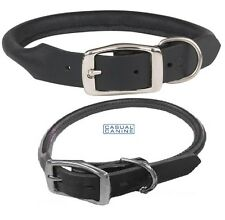 PREMIUM LATIGO ROLLED LEATHER Heavy Duty Round Adjustable DOG COLLAR*BLACK*NEW