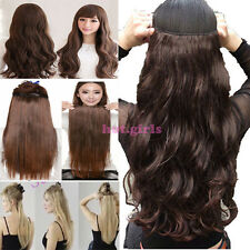 US Ship Long Clip In Hair Extensions 3/4 Full Head Weft one piece 5clips new hgk
