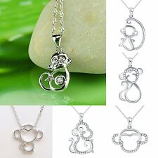 Cute Animal Monkey Silver Tone CZ Crystal Rhinestone Love Pendant Necklace Gift