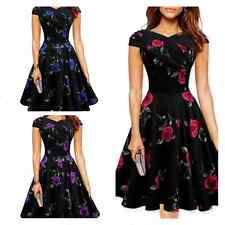 Womens Vintage Retro Swing Pinup Rockabilly Evening Party Short sleeve Dress