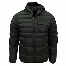 Soul Star Men's Lassu Hooded Padded Quilted Jacket Coat Black