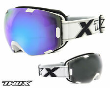 TWO-X Air Ski Goggles Snowboard Goggles Frameless Glasses white blue mirrored
