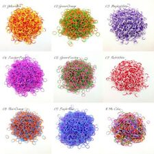 600Pcs TIE DIY Mix Rainbow Double Color Rubber Loom Bands Refill Western Style