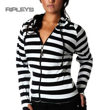 BANNED Clothing Stripe Hoody Top WHITE BLACK Emo Goth All Sizes
