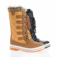 Frost03 Quilted Mid Calf Faux Fur Lined Lace Up Winter Boots