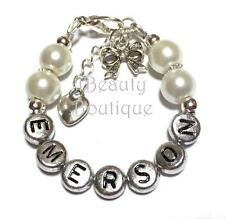 Personalized Baby Bracelet with Bow Tie Charm Hand Made Gift Any Color Any Name