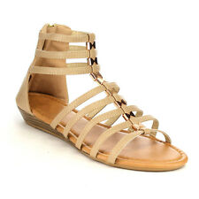 Top Moda CC13 Women's Comfort Strappy Gladiator Style Caged Wedge Sandals