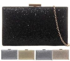 WOMENS HARD CASE BOX PARTY METALLIC SHIMMER EVENING DRESSY OCCASION CLUTCH BAG