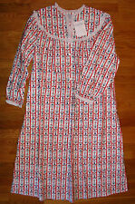"Lanz of Salzburg Nightgown Red Floral Flannel 44"" Long Gown 100% cotton NWT"