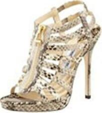 Jimmy Choo GLENYS Glossy Natural Snake Gladiator Strappy Sandal Heel Shoes $1295