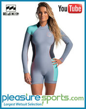 Rip Curl Dawn Patrol Women's Springsuit Long Sleeve 2mm Shorty Grey Turquoise