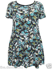 NEW LADIES BUTTERFLY SUMMER TUNIC TOP BLACK BLUE SIZE UK 18 22
