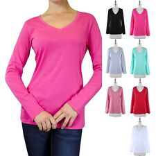 Womens Basic Solid Long Sleeve V Neck T Shirt Top Casual Cotton S M L