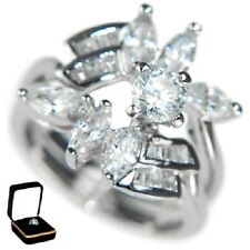 2.9CTW ROUND/MARQUISE/BAGUETTES WEDDING RING SET (2 RINGS) W/BOX #6,7,8,9,10