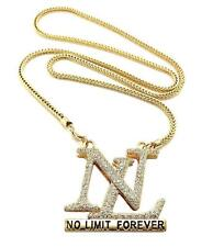 """HIP HOP ICED OUT NO LIMIT FOREVER PENDANT 4mm 36"""" FRANCO CHAIN NECKLACE JP243GS"""