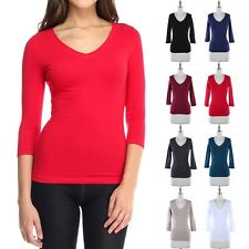 Women's Basic Solid Plain 3/4 Sleeve V Neck T Shirt Top Casual Cotton S M L