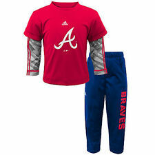 Atlanta Braves adidas Newborn & Infant Double Play Pant Set - Red/Navy