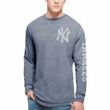 Men's '47 Navy New York Yankees Tri-State Long Sleeve Tri-Blend T-Shirt - MLB