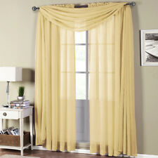 Abri Soft Gold Rod Pocket Crushed Sheer Curtain Panel 100% Polyester