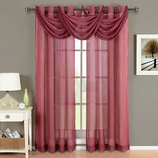Abri Burgundy Grommet Crushed Sheer Curtain Panel 100% Polyester