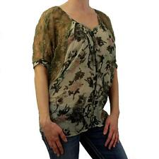 Angie Clothing Women's Shirt Green Georgette Semi Sheer Blouse Top Lace Sleeves
